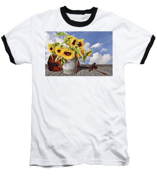 Sunflowers With Violin Baseball T-Shirt