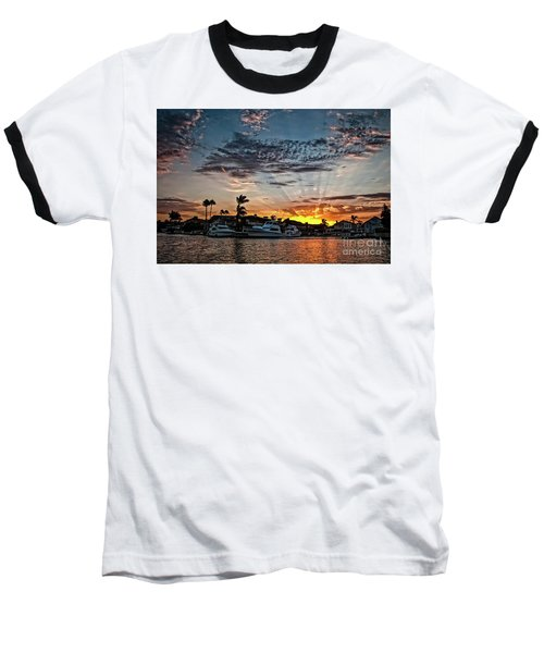 Sunrays Over Huntington Harbour Baseball T-Shirt by Peter Dang