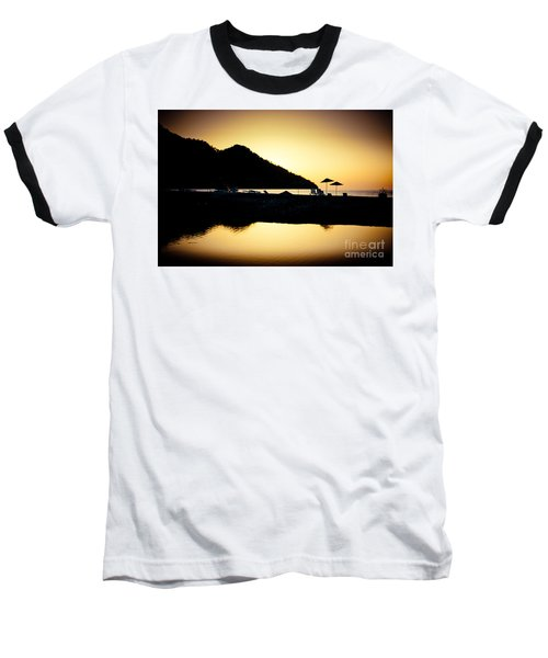 Sunrise At Sea Coast Brown Baseball T-Shirt