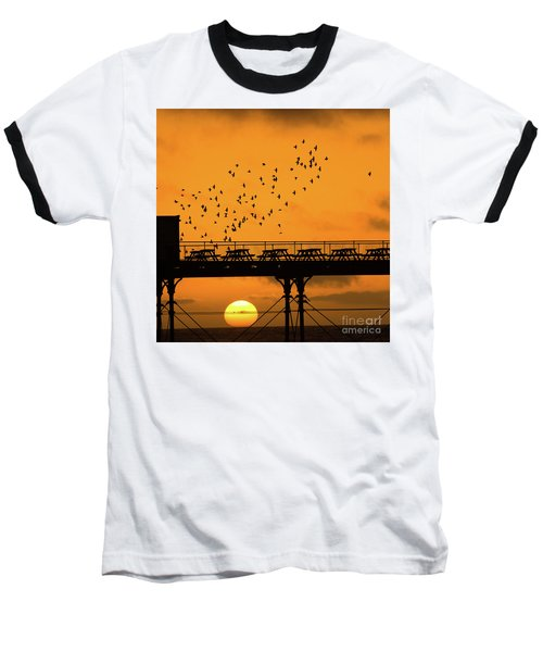 Sunset And Starlings In Aberystwyth Wales Baseball T-Shirt