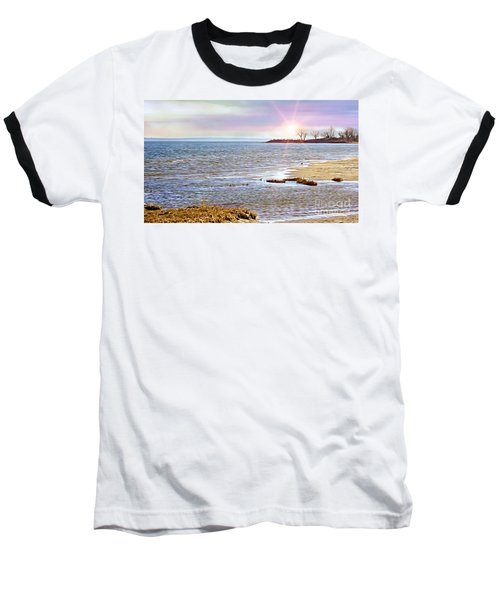 Sunset At The Beach - Tod's Point Baseball T-Shirt