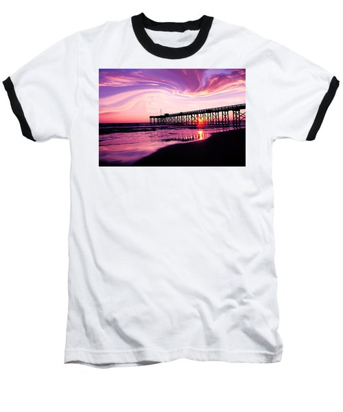 Sunset At The Pier Baseball T-Shirt by Eddie Eastwood
