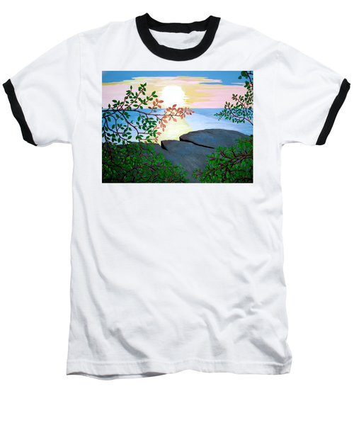 Baseball T-Shirt featuring the painting Sunset In Jamaica by Stephanie Moore