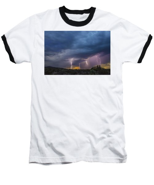 Sunset Lightning Baseball T-Shirt by Kathy Adams Clark