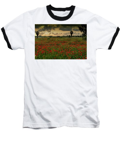 Sunset On A Poppies Field Baseball T-Shirt