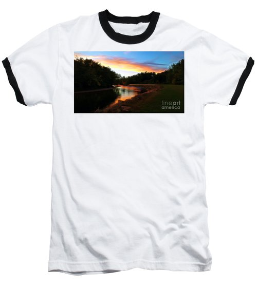 Sunset On Saco River Baseball T-Shirt