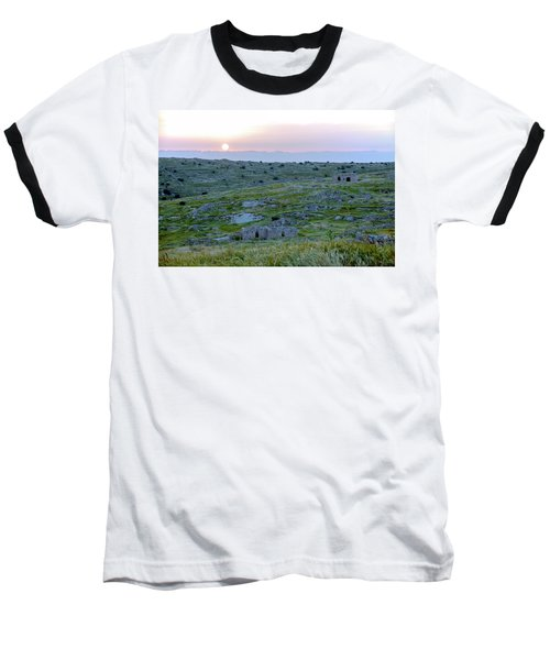 Sunset Over A 2000 Years Old Village Baseball T-Shirt by Dubi Roman