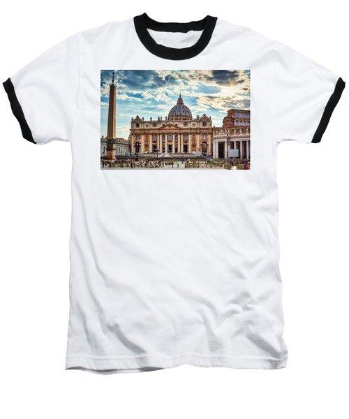Sunset Over The Papal Basilica Of Saint Peter Baseball T-Shirt