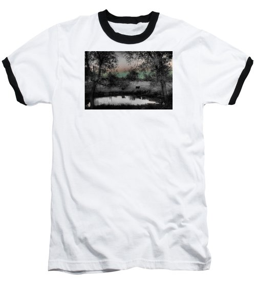 Sunset Over The Pond Baseball T-Shirt by Karen McKenzie McAdoo