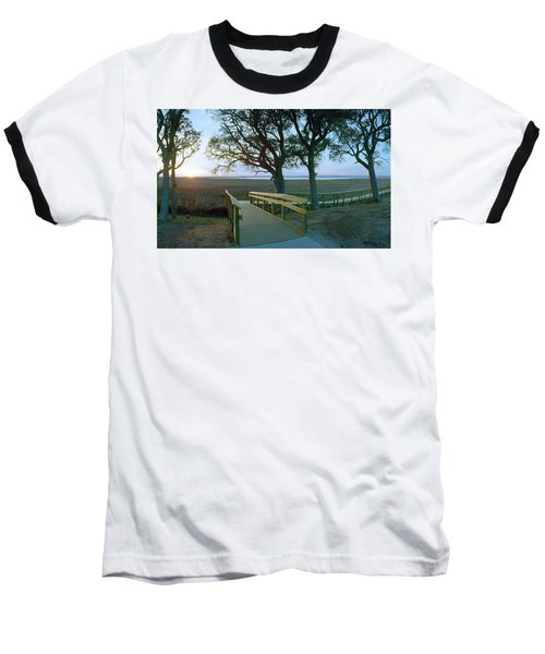 Sunset Over The Sound Baseball T-Shirt by Jan W Faul
