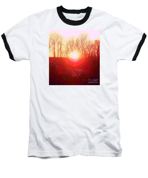 Baseball T-Shirt featuring the photograph Sunset Red Yellow by Shirley Moravec
