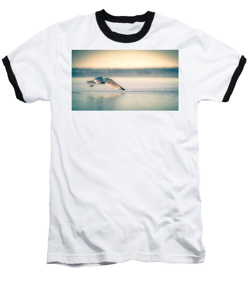 Sunset Seagull Takeoffs Baseball T-Shirt