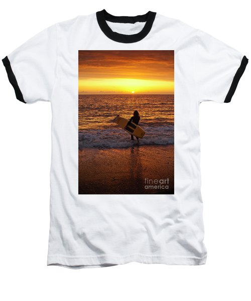 Sunset Surfer On Aberystwyth Beach Wales Uk Baseball T-Shirt