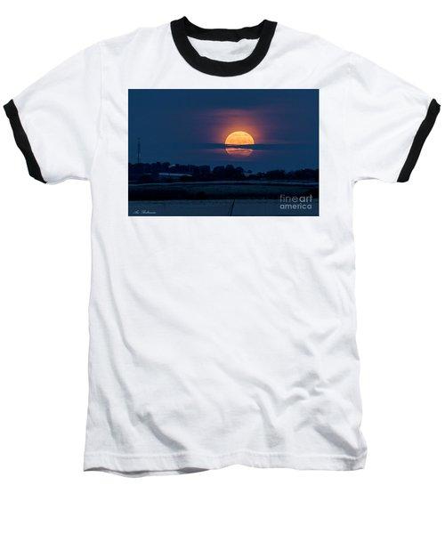 Super Moon Baseball T-Shirt by Arik Baltinester