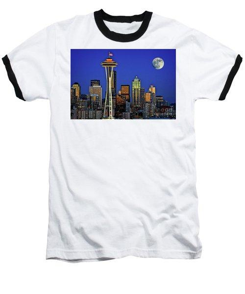 Super Moon Over Seattle Baseball T-Shirt