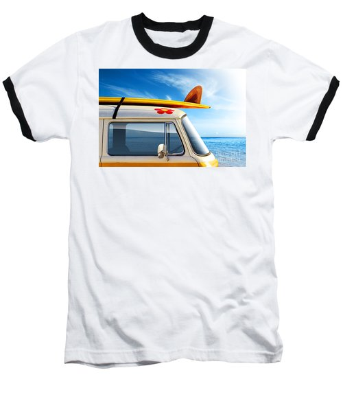 Surf Van Baseball T-Shirt by Carlos Caetano