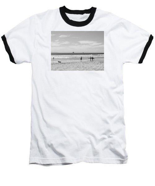 Strollin On Dog Beach Baseball T-Shirt