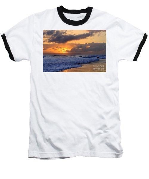 Surfer At Sunset On Kauai Beach With Niihau On Horizon Baseball T-Shirt by Catherine Sherman