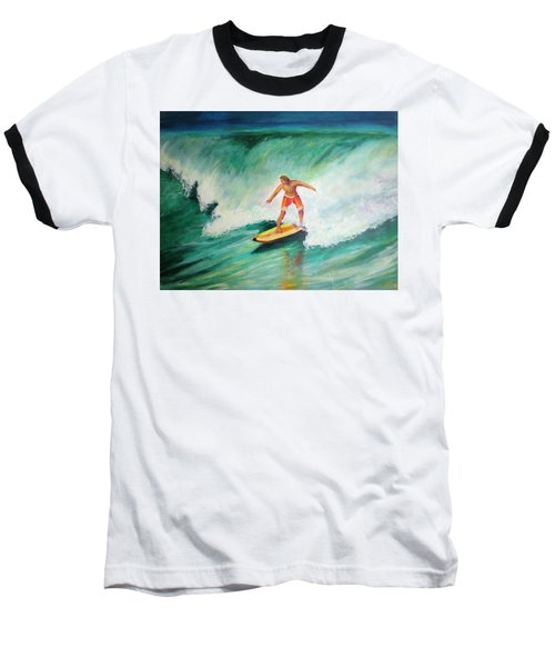 Surfer Dude Baseball T-Shirt by Patricia Piffath