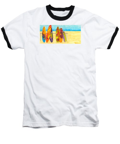 Surfing Buddies - Surf Boards At The Beach Illustration Baseball T-Shirt