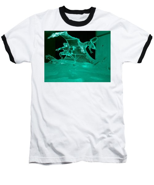 Surfing With Dolphins Baseball T-Shirt by Betty-Anne McDonald
