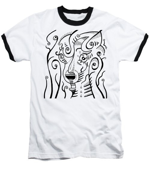 Surrealism Scream Black And White Baseball T-Shirt