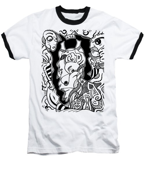 Surrealism Pagan Black And White Baseball T-Shirt