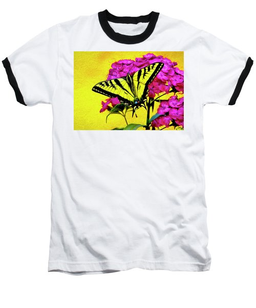 Baseball T-Shirt featuring the digital art Swallow Tail Feeding by James Steele