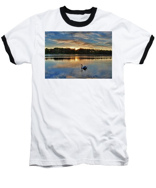 Swan At Sunset Baseball T-Shirt