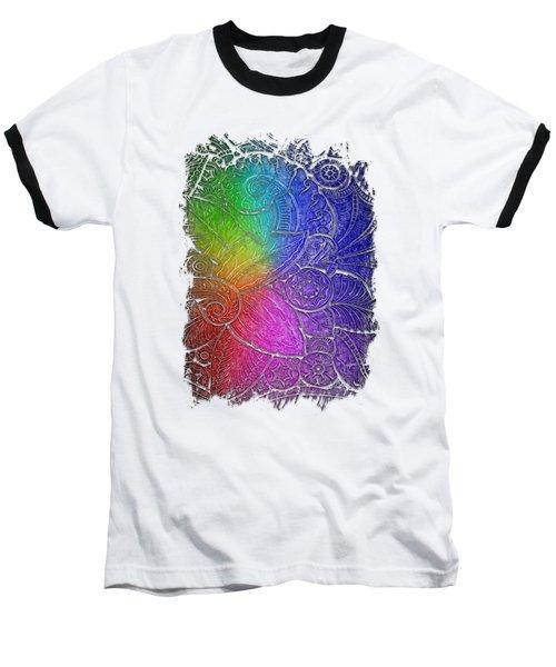Swan Dance Cool Rainbow 3 Dimensional Baseball T-Shirt by Di Designs
