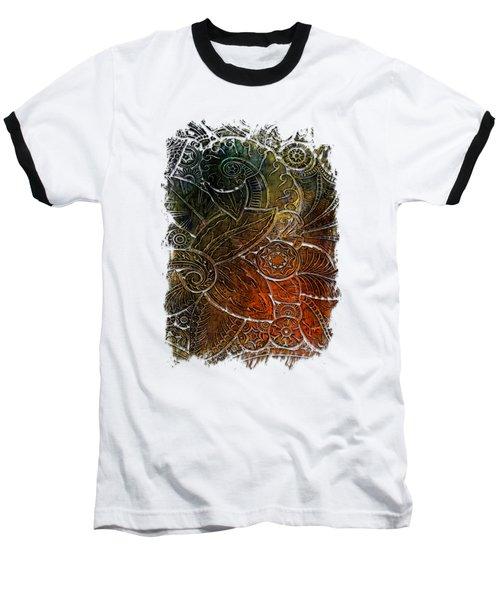 Swan Dance Earthy Rainbow 3 Dimensional Baseball T-Shirt by Di Designs