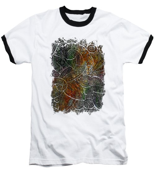 Swan Dance Muted Rainbow 3 Dimensional Baseball T-Shirt by Di Designs