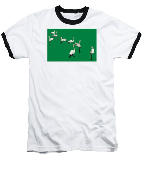 Baseball T-Shirt featuring the photograph Swan Family On Green by Constantine Gregory