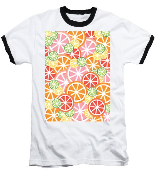 Sweet And Sour Citrus Print Baseball T-Shirt