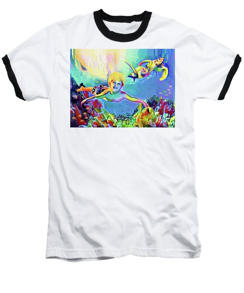 Baseball T-Shirt featuring the painting Swimming With Turtles by Jann Paxton