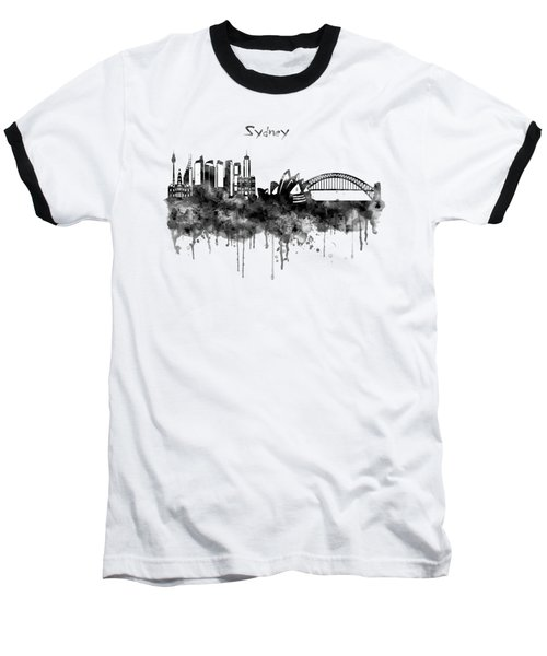 Sydney Black And White Watercolor Skyline Baseball T-Shirt
