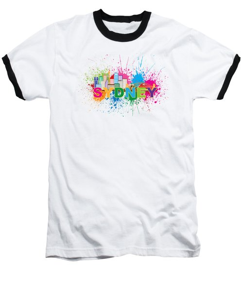 Sydney Harbor Skyline Paint Splatter Text Illustration Baseball T-Shirt