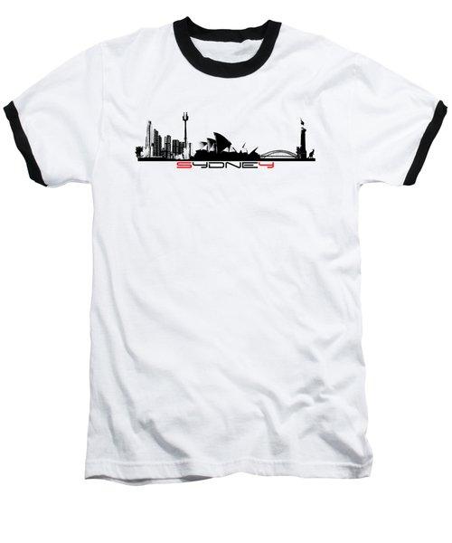 Sydney Skyline Black Baseball T-Shirt