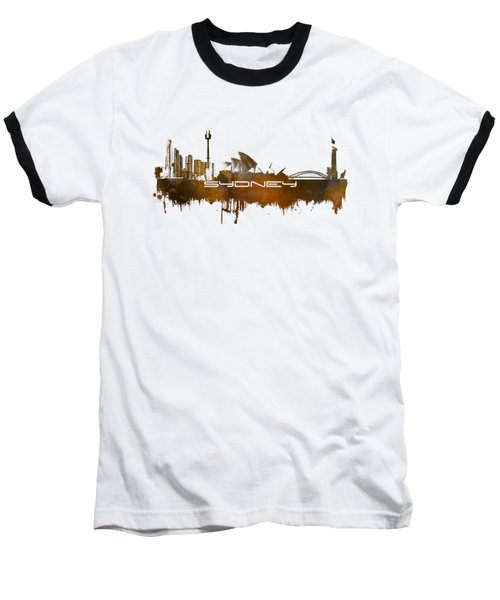 Sydney Skyline City Brown Baseball T-Shirt by Justyna JBJart