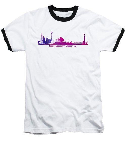 Sydney Skyline Purple Baseball T-Shirt by Justyna JBJart