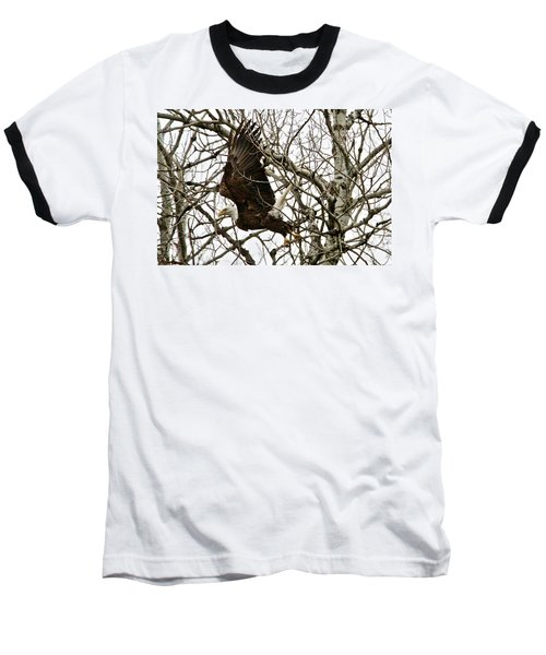 Baseball T-Shirt featuring the photograph Taking Off by Michael Peychich