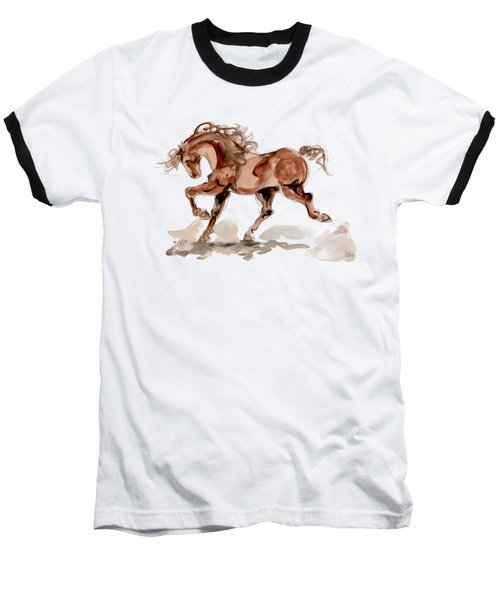 Baseball T-Shirt featuring the drawing Taking Stride 2 by Mary Armstrong