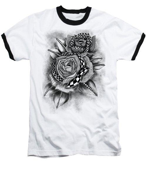 Tattoo Rose Greyscale Baseball T-Shirt