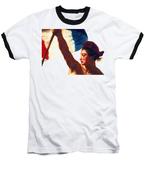 Baseball T-Shirt featuring the painting Tee Shirt Vive La France Liberty Weeps by Tony Rubino