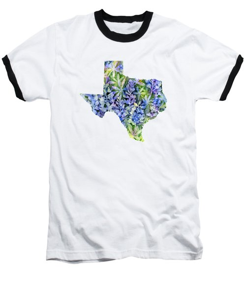 Texas Blue Texas Map On White Baseball T-Shirt by Hailey E Herrera