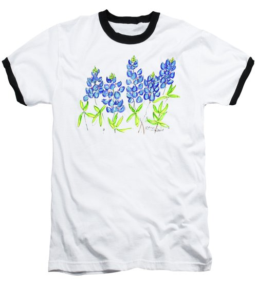 Texas Bluebonnets Watercolor Painting By Kmcelwaine Baseball T-Shirt