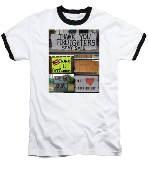Thank You Firefighters Collage Baseball T-Shirt by Patricia Strand