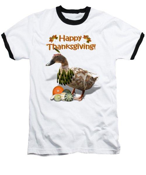 Thanksgiving Indian Duck Baseball T-Shirt