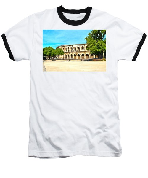 The Amphitheatre Nimes Baseball T-Shirt by Scott Carruthers