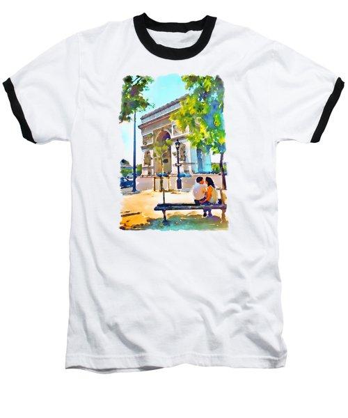 The Arc De Triomphe Paris Baseball T-Shirt by Marian Voicu